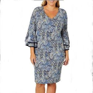 Sami & Jo Paisley Bell Sleeve VNeck ShirtDress